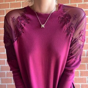 Free People Tops - NWT Free People Maroon Daniella LS Top